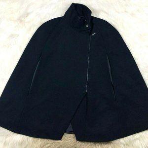 AKIN Ginger Smart Wool Blend Mock Neck Cape Jacket